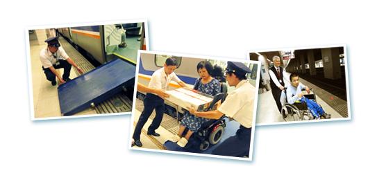 此圖為改善計畫的示意圖片,圖中為站務人員幫助行動不便人士上下車
