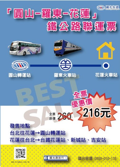 花蓮=台北鐵公路聯運票(國光)
