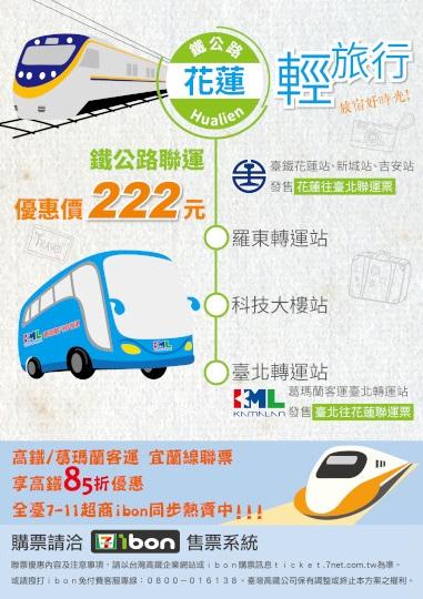 花蓮=台北鐵公路聯運票(葛瑪蘭)