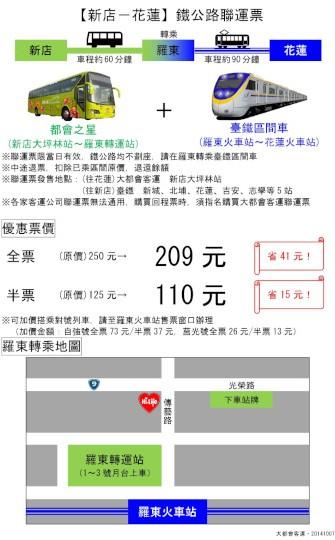花蓮=台北鐵公路聯運票(大都會)