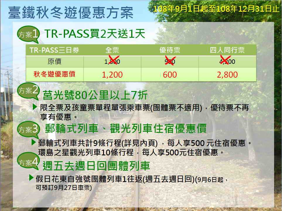 臺鐵局108年秋冬優惠方案